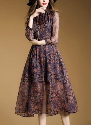 Jedwab Kwiatowy 1034301/1034301 Rękawy Do Połowy Łydki Vintage Sukienki (1034301) @ floryday.com