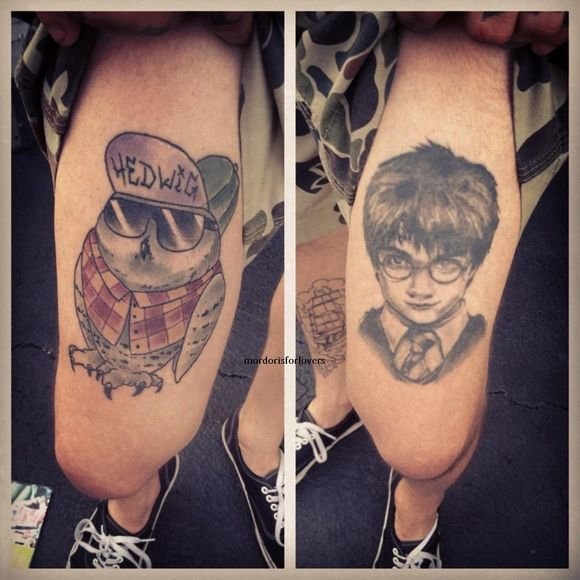 "Mike Fuentes- Pierce The Veil: Gryffindor. Whaaaat!? ""Warped tour bands show off their Harry potter tattoos"""