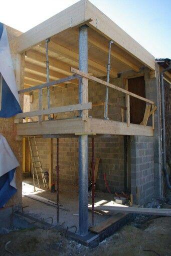 charpente toit plat en lamell coll avec poteaux galva charpente vivanbois pinterest. Black Bedroom Furniture Sets. Home Design Ideas