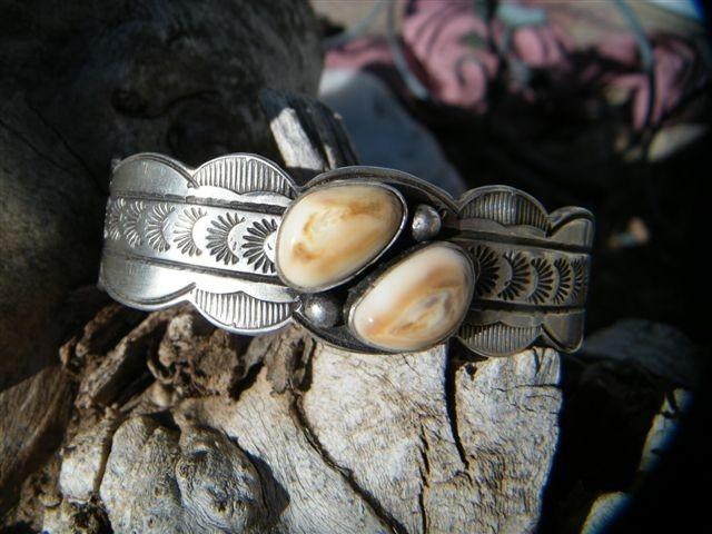 Navajo Style Bracelet with Elk Ivories