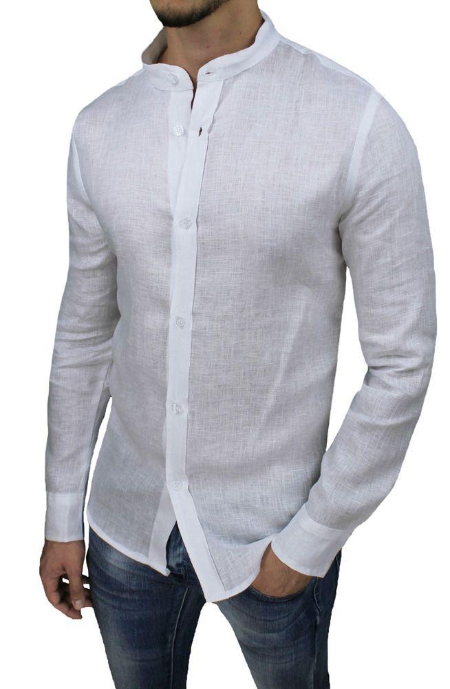 Camicia di Lino Uomo Collo Classico Sartoriale Slim Fit Elegante Estiva Casual