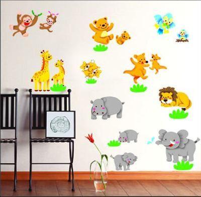 Animal Zoo Monkey Bird Wall Decals Stickers Removable Kids Nursery Decor Art