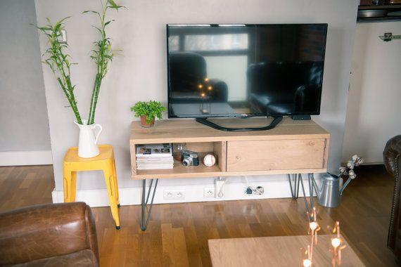 Meuble TV chêne massif vintage par BloDesign sur Etsy