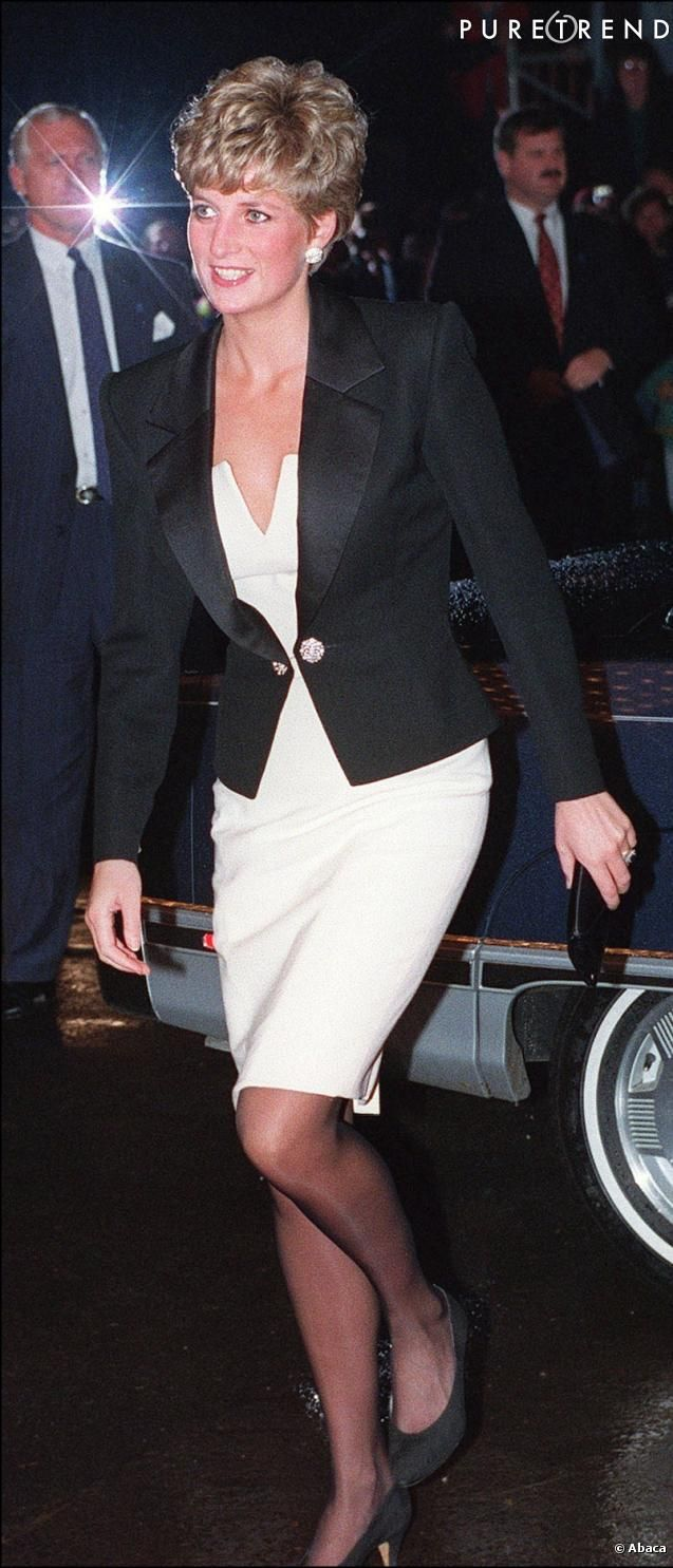 Gently tuxedo-styled... Princess Diana