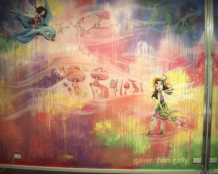Sillier than sally, colourful fairyland nursery wall mural, pink, fairies, fairy village, bird, street art, mural, Sydney street artist, Sydney mural artist, create murals for offices, pubs, restaurants, nurseries and children's rooms.