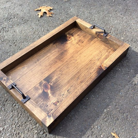 Rustic serving tray Serving tray Wood tray by SMCRusticDesigns