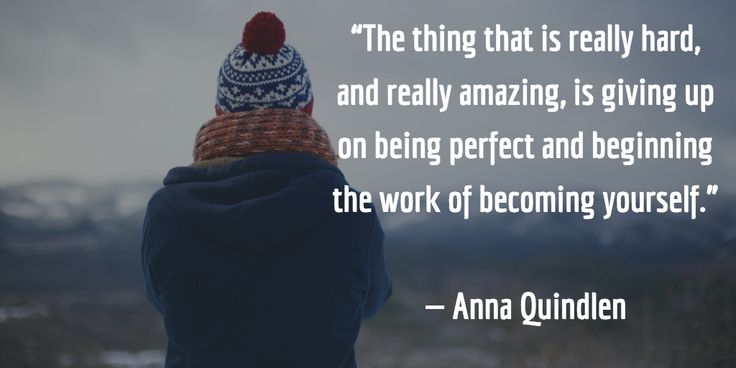 """""""The thing that is really hard, and really amazing, is giving up on being perfect and beginning the work..."""" -Anna Quindlen"""