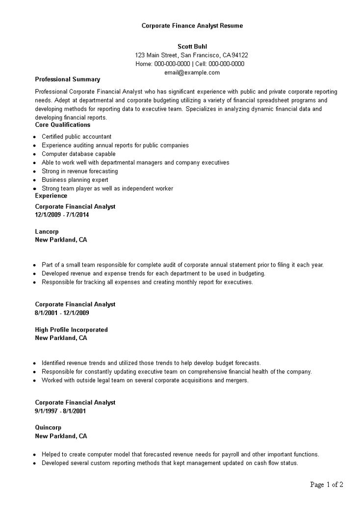 Corporate finance analyst resume how to create a