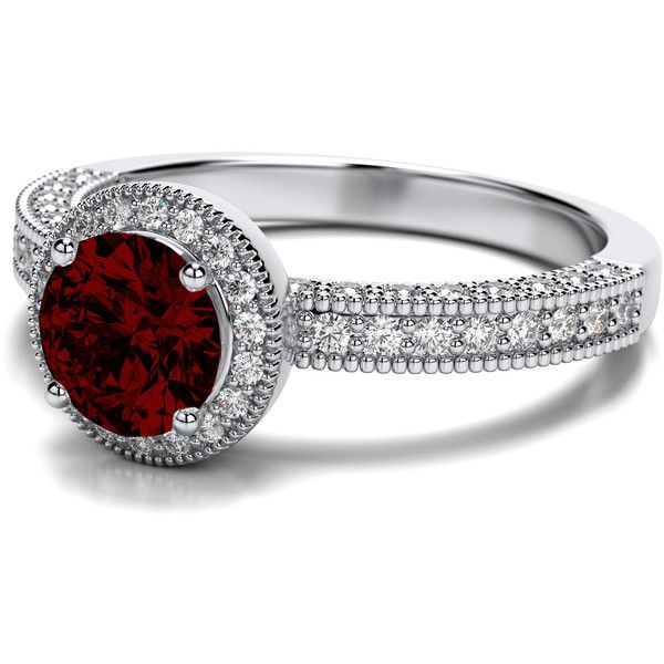 Victorian Vintage Round Cut Garnet Engagement Setting in 18k White... ($1,439) ❤ liked on Polyvore featuring jewelry, rings, vintage garnet rings, wedding rings, victorian rings, garnet wedding ring and round cut rings