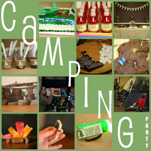 Camp Theme Birthday Party.  LOVE x a billion.  Pigs in a blanket become kids in a sleeping bag. Playdough mud with bugs in it.  Dirt cake.  All of it is soo super cool.