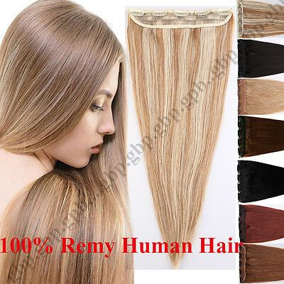 Details about AAA+ One Piece Clip in Real Human Hair Extensions Remy hair Extension Weft B046