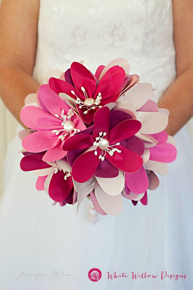 Image Jennifer McCue Photography Pink wedding flower bouquet, handmade wedding fabric bridal bouquet
