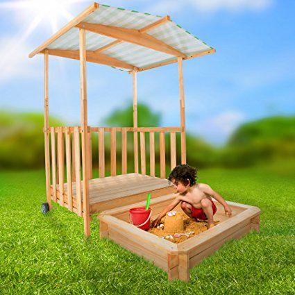 TecTake Recinto di sabbia con tetto Veranda da gioco in legno per bambini con casetta e protezione solare tetto di copertura: Amazon.it: Giochi e giocattoli