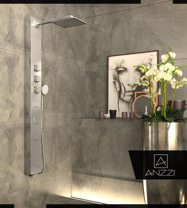 3jetted full body shower panel system with heavy rain showerhead and spray wand in chrome grey - Shower Tower