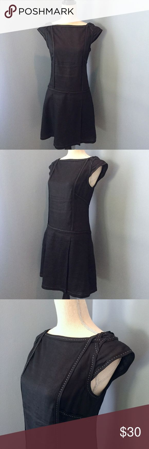 Max Studio Black Linen Cap Sleeve LBD A very refined dress that goes from work to weekend easily. Contrasting stitch detail and braided shoulders gives a casually stylish effect. Wide high boat neck accentuates the neckline, great for wearing your hair back. The double V stitching on the back helps make your figure look slim and streamlined. Good condition. Size 4. Max Studio Dresses