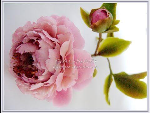 Розовый пион. Холодный фарфор. Ивашковой  Г - YouTube
