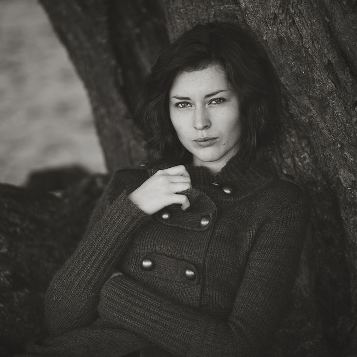 Black and white outdoor portrait
