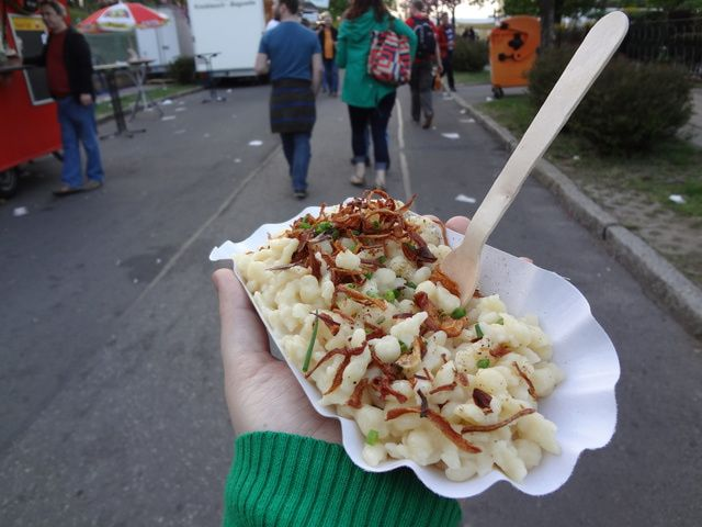 What to eat at Oktoberfest (or anytime you're in Munich): Spätzle.  Often compared to the American version of macaroni and cheese, this gut-bomb is traditionally made by scraping a ball of Dunstmehl (dough) against a wooden chopping board known as a Spätzlebrett into boiling salted water. When finished, the Spätzle rise to the surface and can be topped with fried onions, spinach or minced pork liver (Leberspätzle) for the meat-lover.