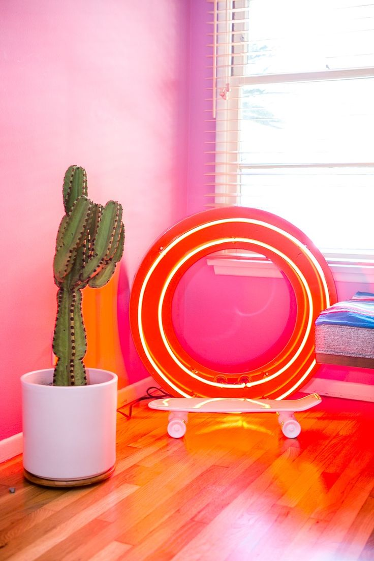 Why So Serious? Playful Design Trends We're Spotting: Neon, Influences, Toys & West Los Angeles, Los Angeles Homes, Weird Furniture, Nyc Studio Apartments, American Interior, Neon Design, Beautiful Home Designs, Beautiful Homes, Orange Interior