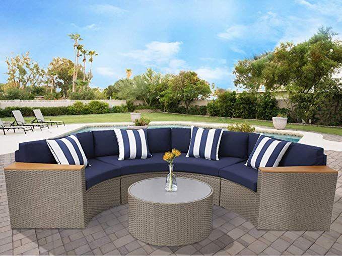 Amazon Com Solaura Outdoor 5 Piece Sectional Furniture Patio Half