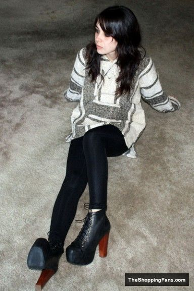 nice white thrifted sweater black american apparel leggings and black jeffrey campbel boots  The Shopping Fans