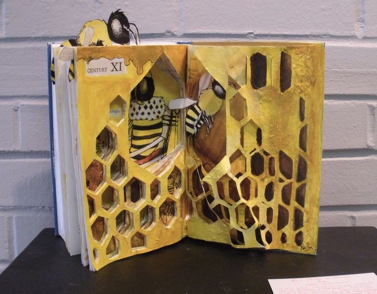 Altered Book Art - Fears and Phobias - Advanced Drawing Class / Mixed Media Unit / Katie N. Example 2011