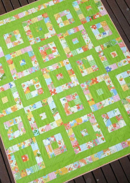 Quilt made with a single layer cake and contrasting solid fabric