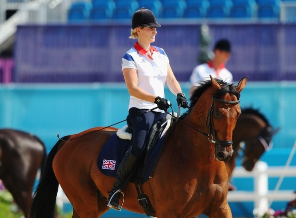 Zara Phillips practicing for her Olympic appearance 26 July 2012