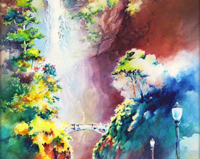 Sol cataratas - edición limitada archivo giclee sobre papel libre de ácido texturado fino arte de la acuarela original.  -Tamaño de imagen: 14.5 x 21,5  -Edición limitada de 36  -Firmada y numerada por el artista  -Envasados en base de la espuma en una funda de plástico  La inspiración para la cascada fue Weisendanger caídas sobre caídas de Multnomah en Oregon Columbia River Gorge. Las cataratas es a lo largo de Multnomah Creek en las cataratas Multnomah cataratas Wahkeenah caminar por…