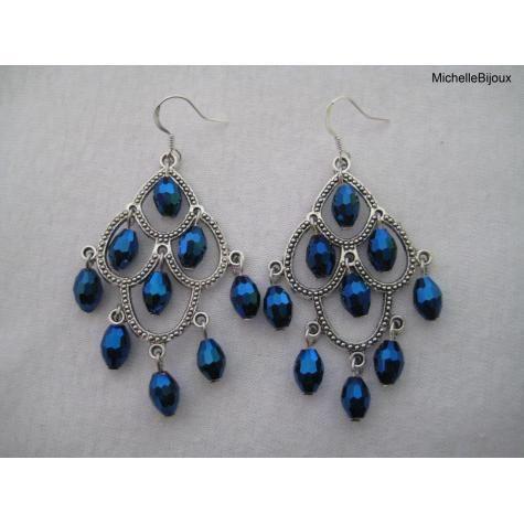 Grote blauwe oorbellen