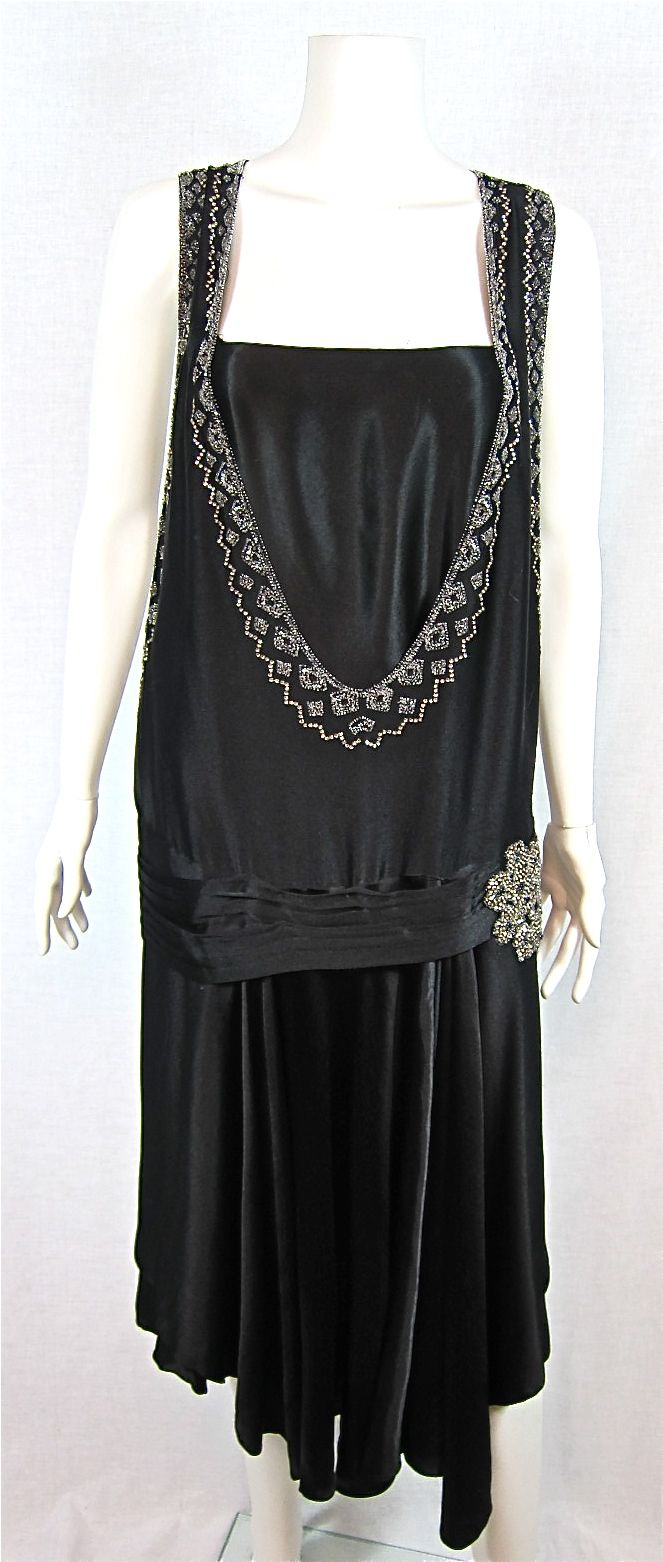 flappers dress pictures from 1920s | 1920s SATIN RHINESTONE & BEADED FLAPPER DRESS - For Sale