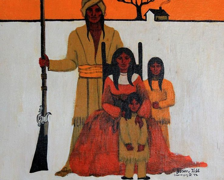 "THE FAMILY by JOAN HILL(Born in 1930, Joan Hill (Chea-Se-Quah translating to ""Red Bird"") is a Creek/Cherokee NA from Muskogee,Oklahoma)"