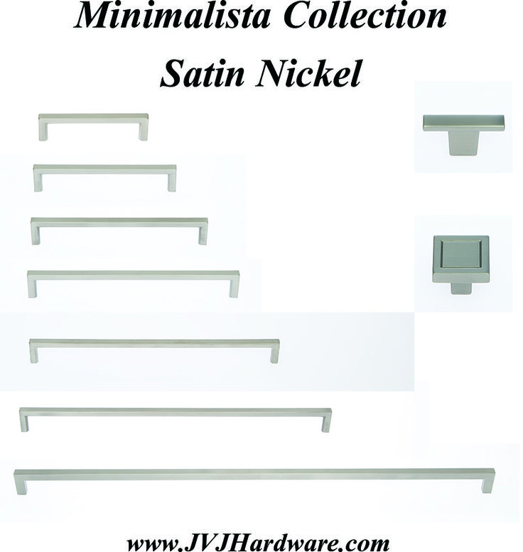 jvj hardware minimalista collection of cabinet pulls and knobs in satin nickel this collection compliments home decor from traditional to modern styles