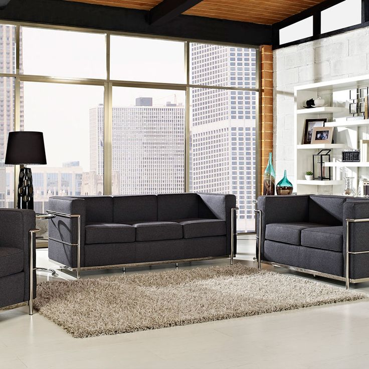 Leigh Wool Sofa | Modern Lounging | On Trend | Chrome Bars   Frame | Eurway