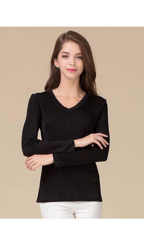 Women's 100% Pure Silk T-Shirt V-Neck Full Sleeve