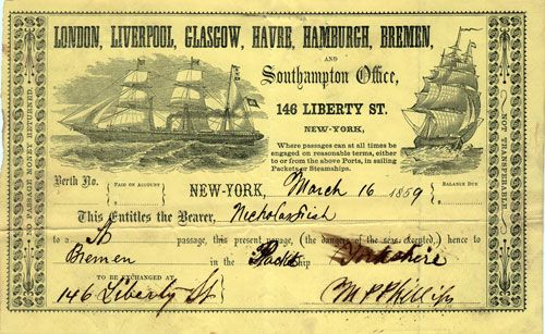 This Is An 1859 Ticket For Passage On The Black Ball Line