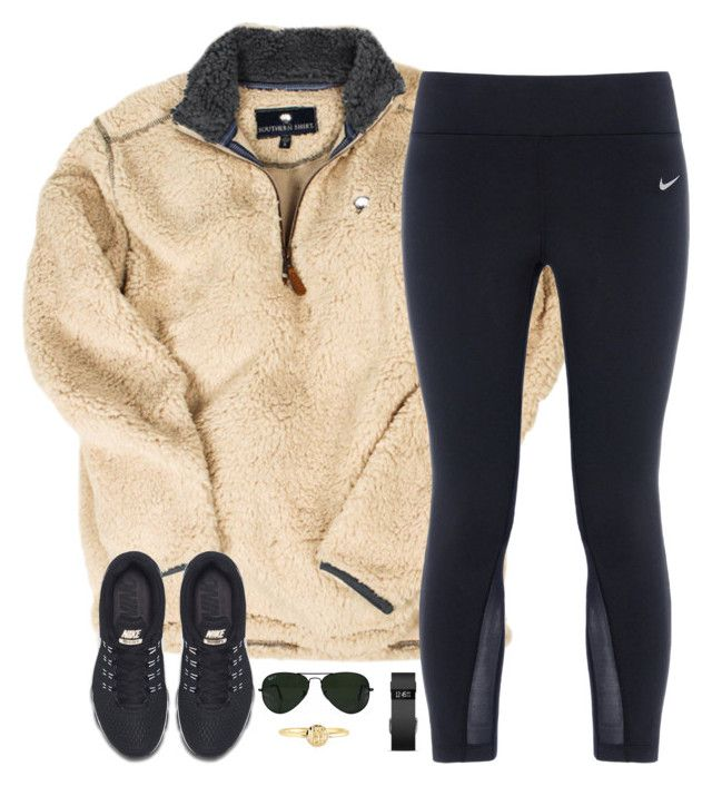 """i like long romantic walks... down every isle at target"" by kaley-ii ❤ liked on Polyvore featuring NIKE, Fitbit, Ray-Ban and Mark & Graham"