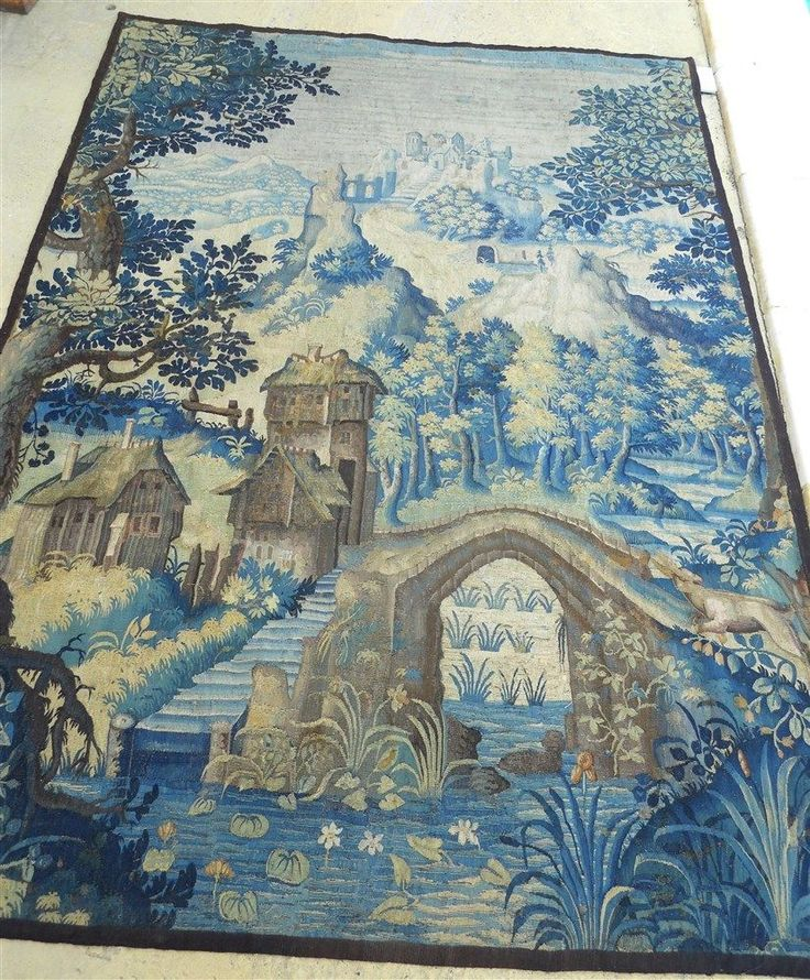 Aubusson French antique tapestry 17th-century verdure with dog