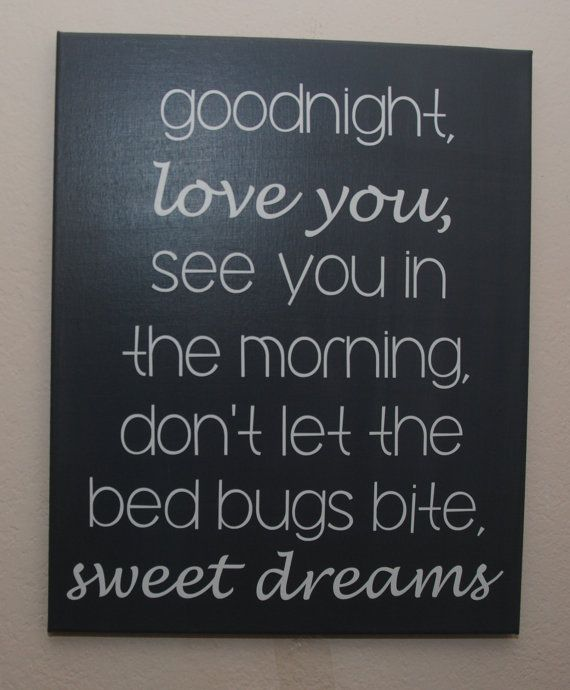 Custom Canvas Quote Wall Art Sign Good Night Love You See You In The Morning Dont Let The Bed Bugs Bite Sweet Dreams