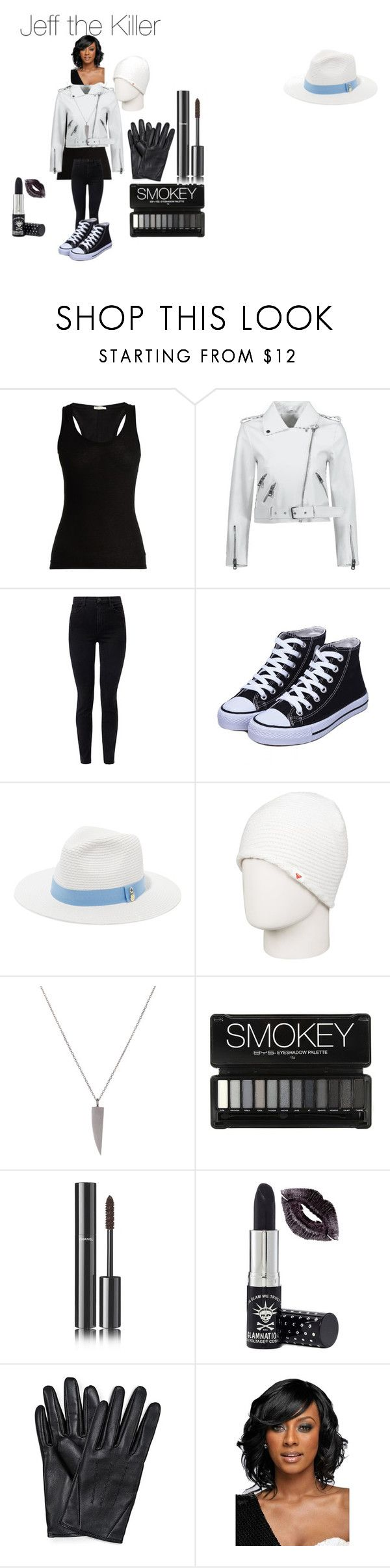 """Jeff the Killer Creepypasta"" by tori-camilleri on Polyvore featuring Skin, J Brand, Melissa Odabash, Roxy, Chanel, Manic Panic NYC and WithChic"