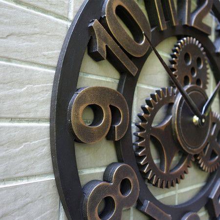 Artesanal de grandes dimensões 3D retro de luxo decorativa art grande engrenagem grande relógio de parede de madeira do vintage na parede para presente | alishoppbrasil