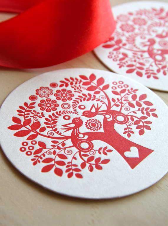 I think these are beautiful.  Letterpress Coaster Scandinavian Folk Style by fluidinkletterpress, $8.00