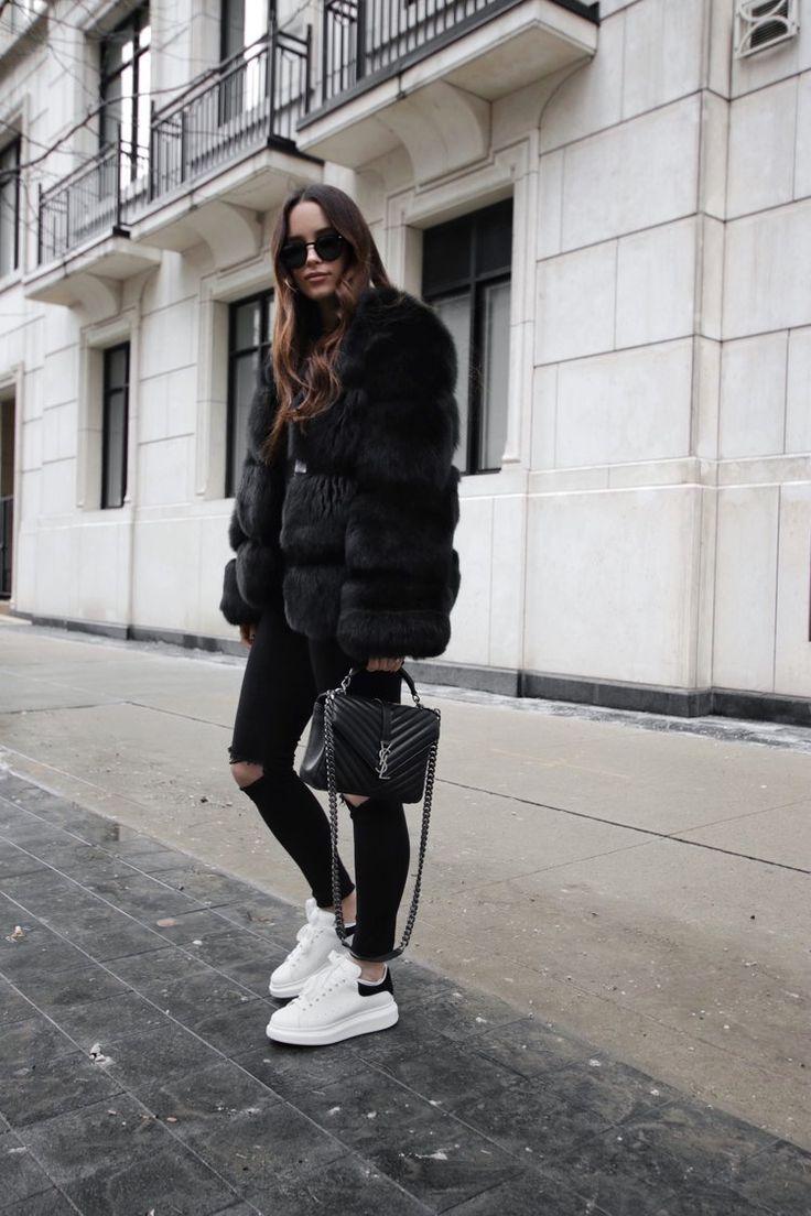 Black fur outfit | Alexander mcqueen