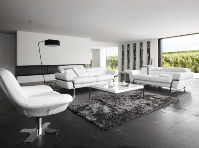 Salon noir blanc canape cuir blanc crozatier living room - Canape cuir noir et blanc ...