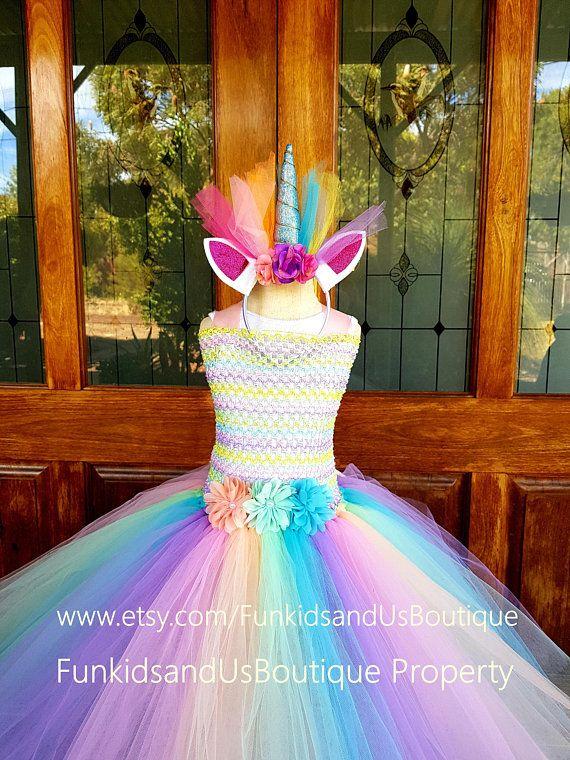 Pastel Unicorn Tutu Dress Unicorn Birthday Dress Diy Tutu Dress Fancy Dresses Party Unicorn Dress Kids