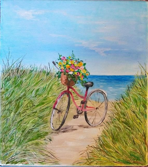 Original Oil Painting Bike Seascape Painting On Canvas Home