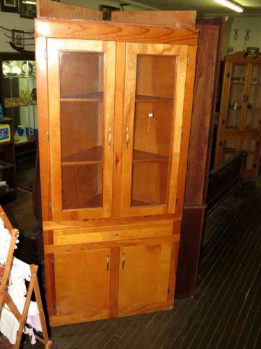 Mid Century Modern Yellow Pine Corner Cabinet Glass Doors