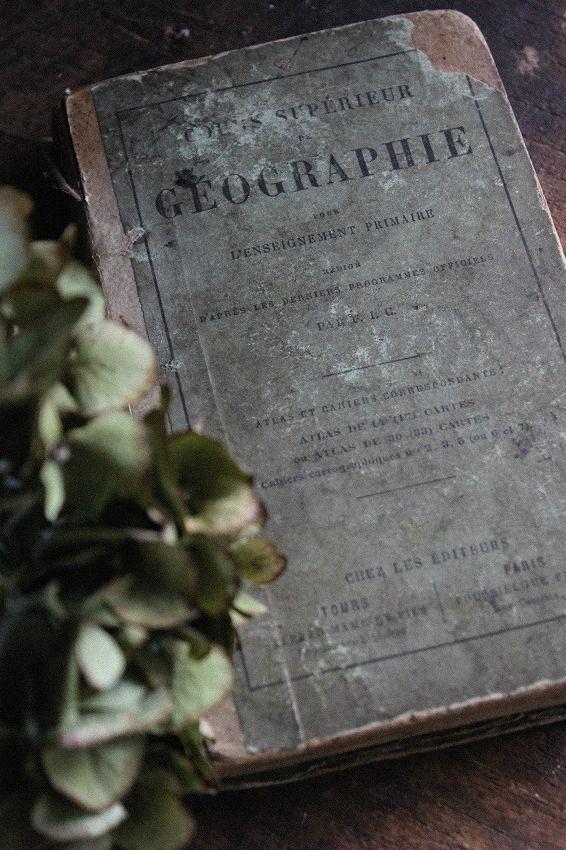 本の似合う季節になってきましたね時を重ねた1800年代地理学の本...いい味出してます