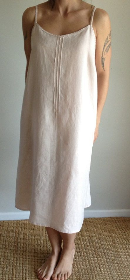 Pure Belgian Linen, Stonewashed Slip Dress Washed, wrinkled+ soft.