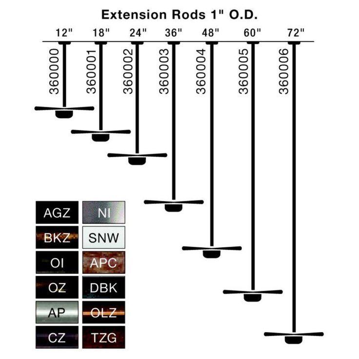 Kichler Ceiling Fan Extension Rods - 1 inch Outside Diameter - 360004BKZ